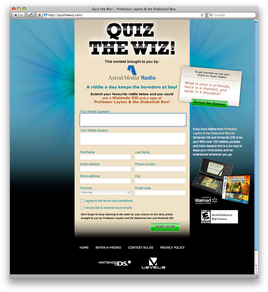 Contest website design by Swerve, Toronto