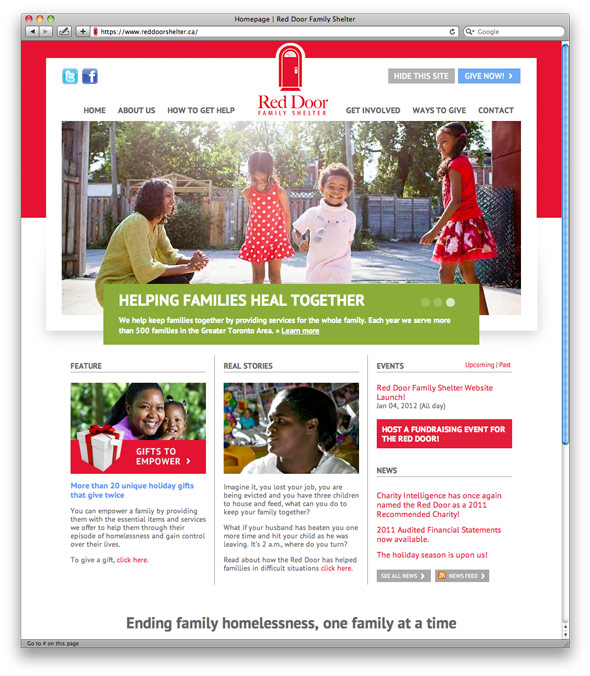 Red Door Shelter's home page