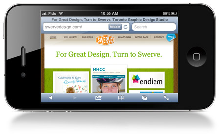 Swerve's site before responsive design applied