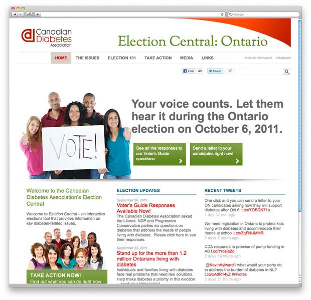 Canadian Diabetes Association: Election Central Website