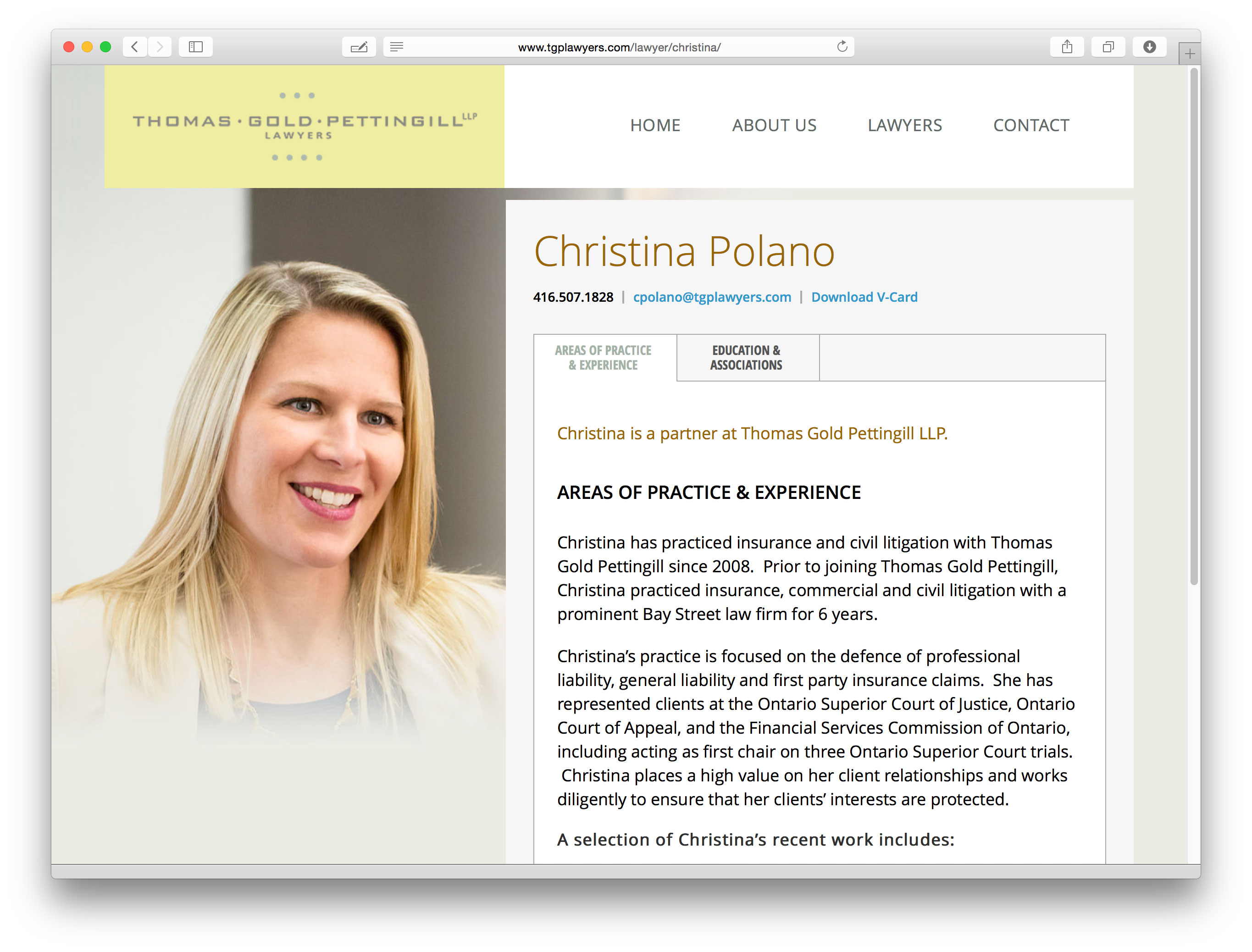Biography page sample for TGP's website design