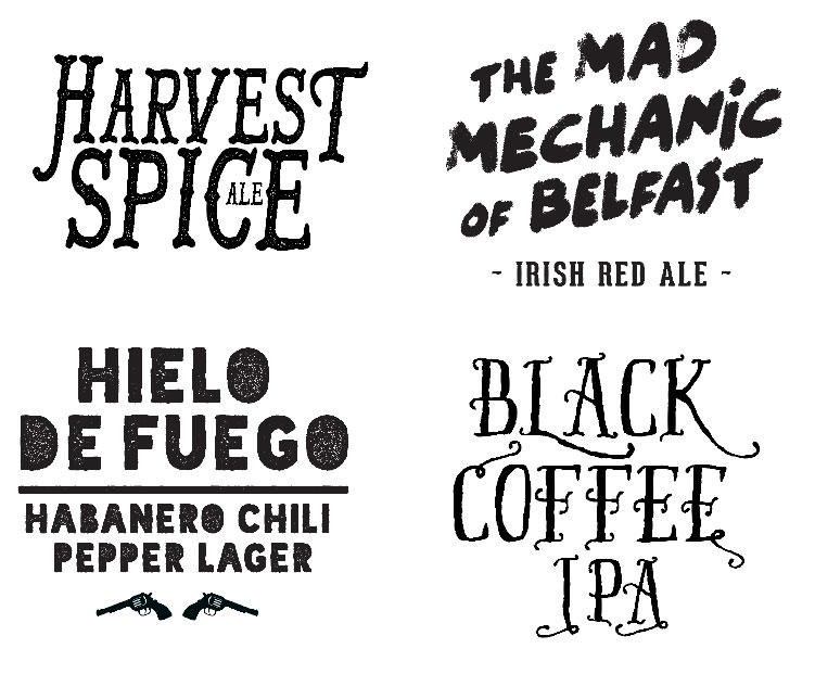 Samples of typography for packaging labels