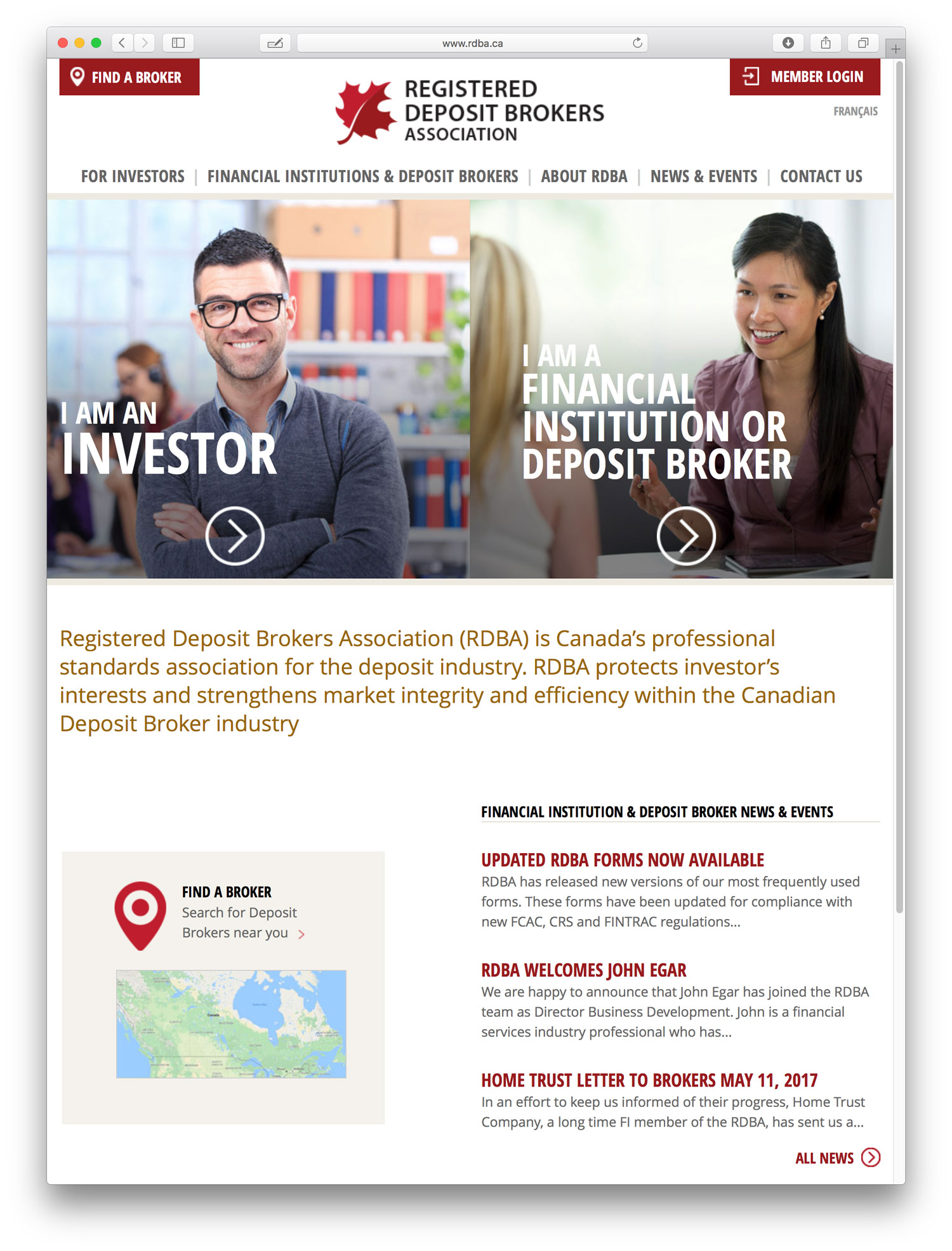 Association website design for RDBA showing home page