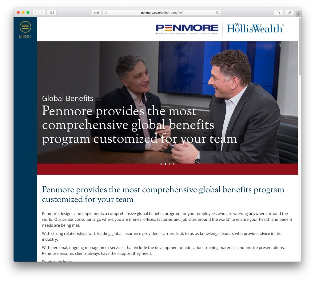 Penmore financial website design
