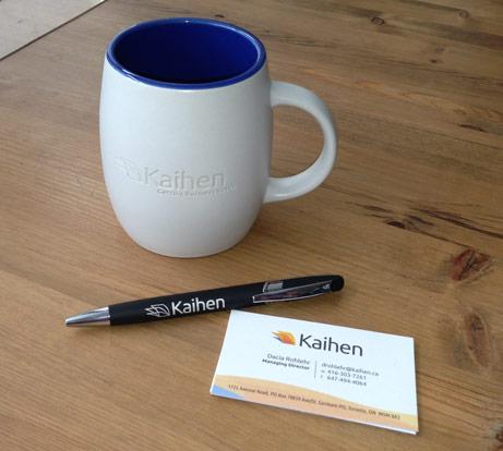 Logo on mug, pen and business cards