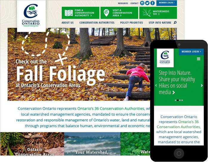 Environmental website design for Conservation Ontario