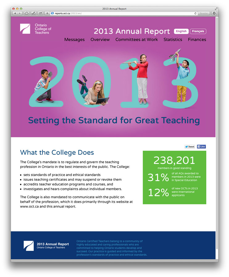 Ontario College of Teachers Annual 2013 Report website