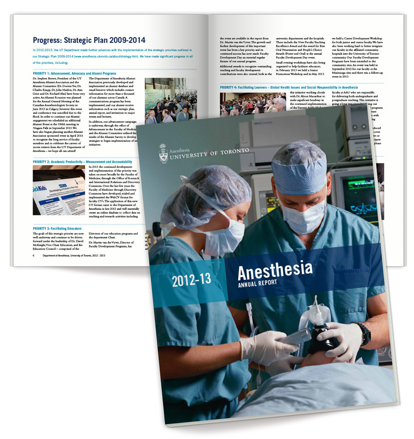 Annual report design for UofT Dept. of Anesthesia