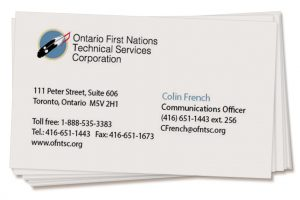 Ontario First Nations Technical Services business card design