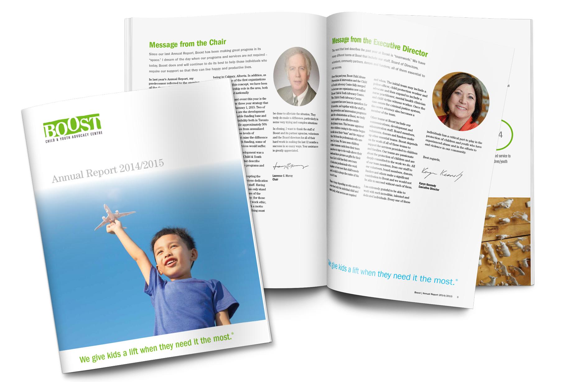 Annual report design for Boost, 2015