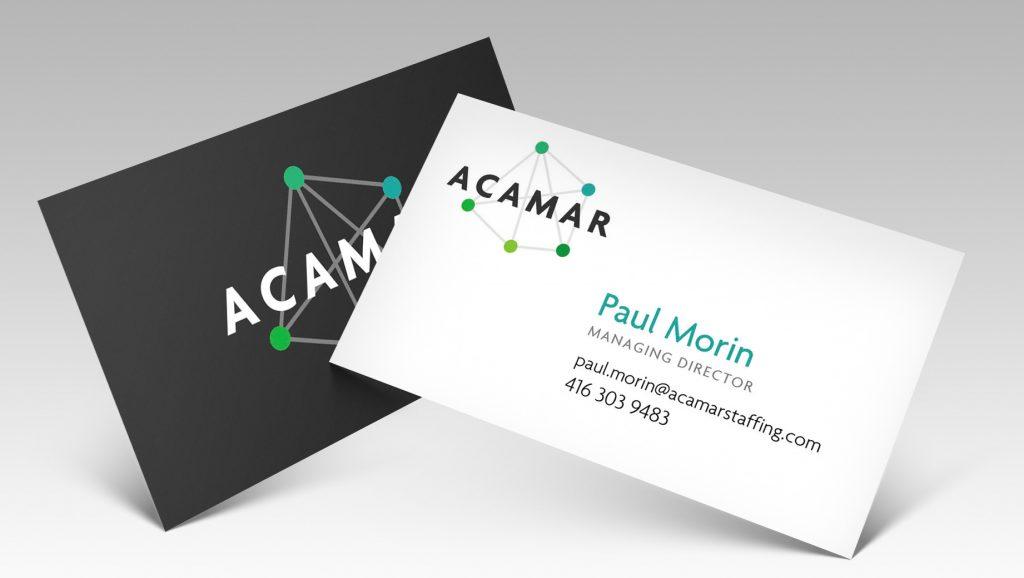 Acamar's business card designs