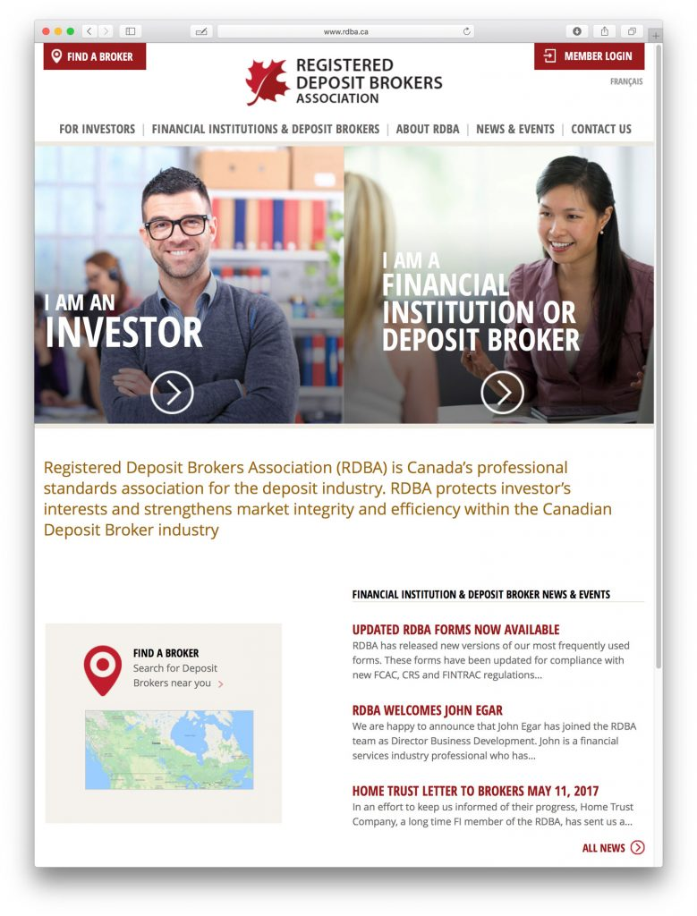 RDBA home page design