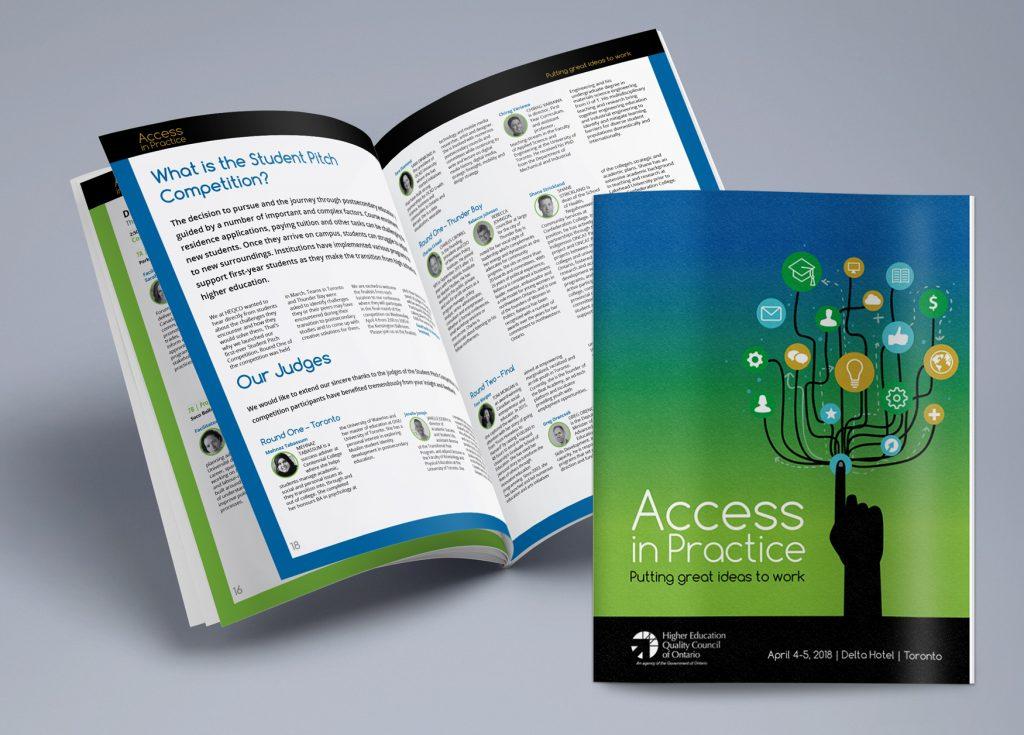 Event program booklet design for HEQCO