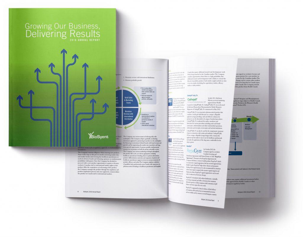 Annual report design for BioSyent 2016
