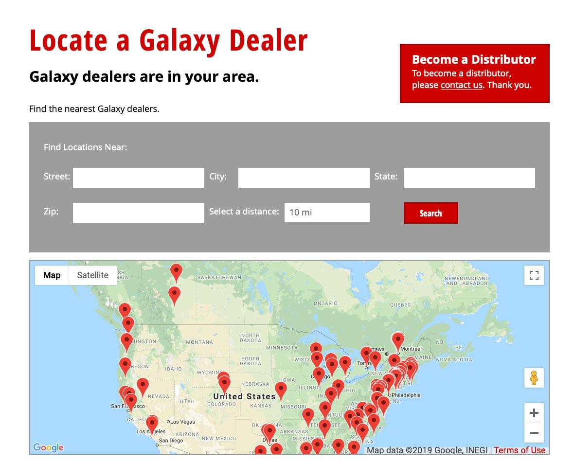 Dealer locator map design